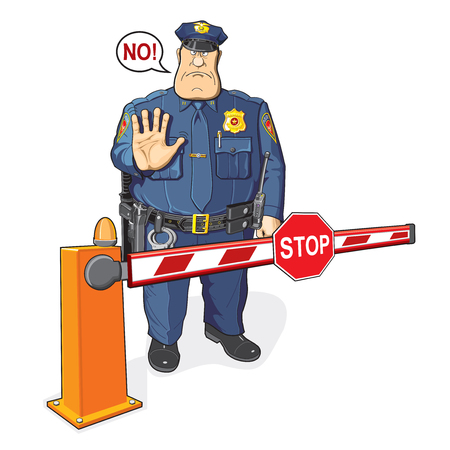 Policeman, barrier, stop sign. The ban, border, customs and immigration