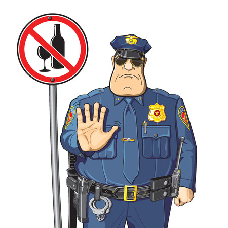 Cop warned - can not drink alcohol. Alcohol prohibition - sign. Vectores