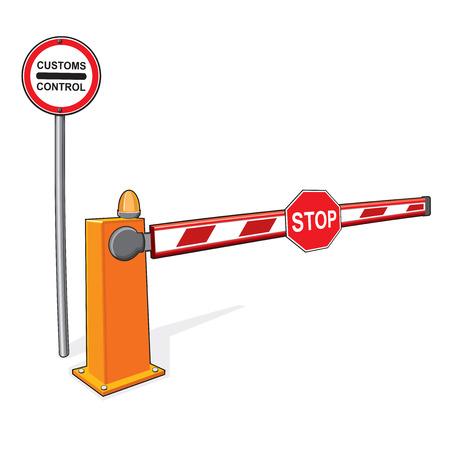 De slagboom aan de grens. Douane controleert, een verbod op de invoer.
