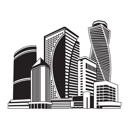 City scape of tall buildings.