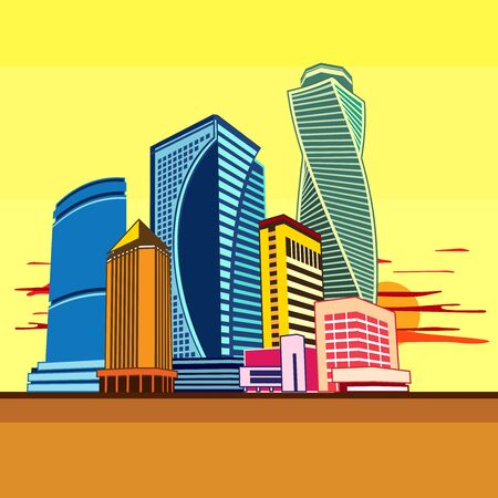 Cityscape of tall buildings.