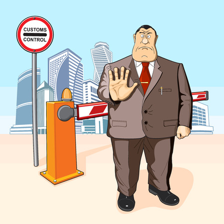 Boss or businessman prevents or prohibits. Tall buildings