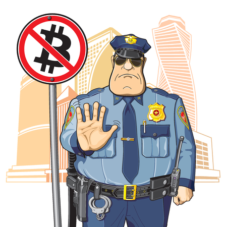 prohibits: Police on the background of high-rise buildings prohibits Bitcoin Illustration