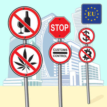 Signs of the ban on the background of high buildings
