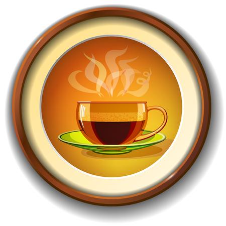 Café caliente en una taza de cristal, de pares de un marco circular - el café de inscripción. Foto de archivo - 59652988