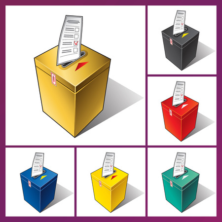 votes: Falling ballot in the ballot box. The voter votes in elections