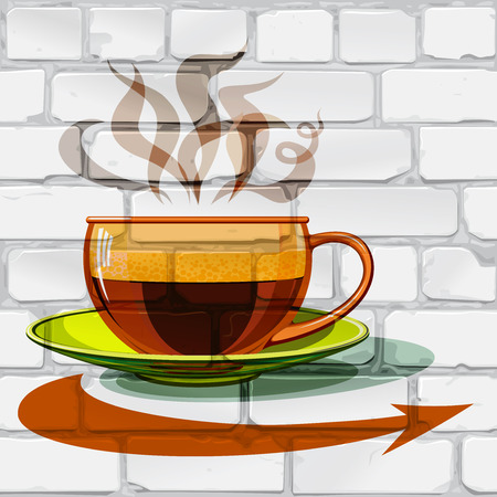 Hot coffee in a glass cup, of pairs of - Coffee inscription and arrow on a brick wall. Vectores