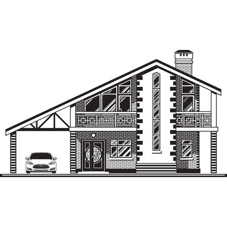 Casa o casa de campo, una cochera y un coche. Los gráficos vectoriales Foto de archivo - 61062788