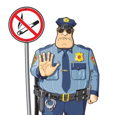 illegal zone: Sign - No smoking. Police prevents or prohibits smoking.