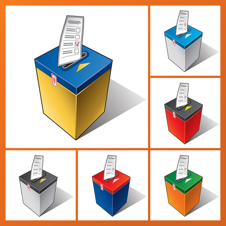 to designate: Falling ballot in the ballot box. The voter votes in elections