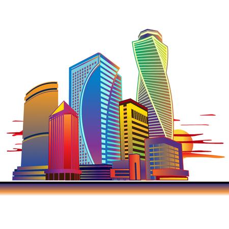 Paisaje urbano de edificios altos. Gráficos de imágenes vectoriales. Foto de archivo - 61786472