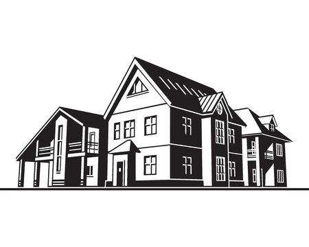 Individual residential houses. Suburban homes or cottages. Vector graphics
