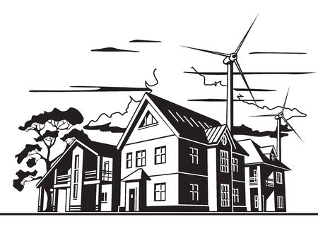 Individual residential houses. Suburban homes or cottages. Wind power plant Vectores