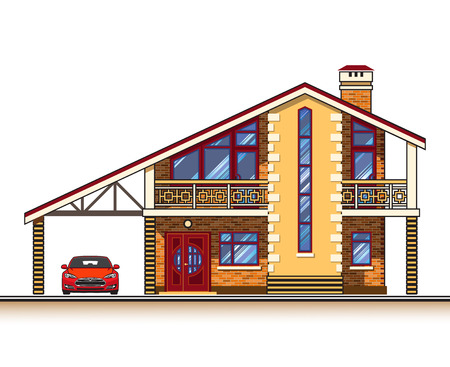 suburban: House or cottage, a carport and a car. Color graphics vector