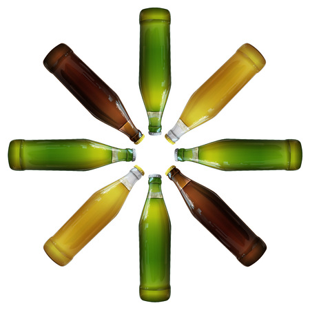 Glass bottles of beer in the form of a flower vector