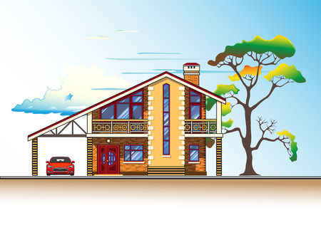 in the suburbs: House or cottage, tree, a carport and a car. Color graphics vector Illustration