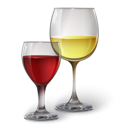 Wine glasses with white and red wine, cocktails, rum, or brandy. Realistic vector image Vectores