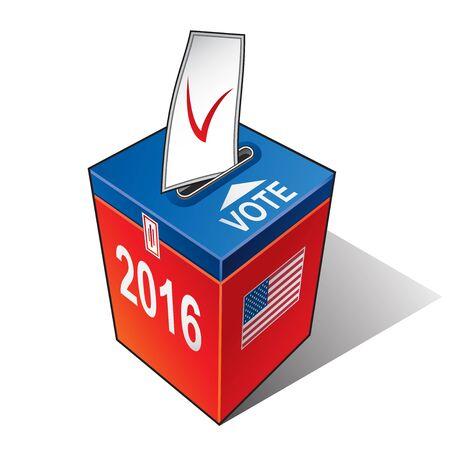 Urna con la bandera de los Estados Unidos. Elecciones presidenciales de Estados Unidos 2016 Foto de archivo - 66952011