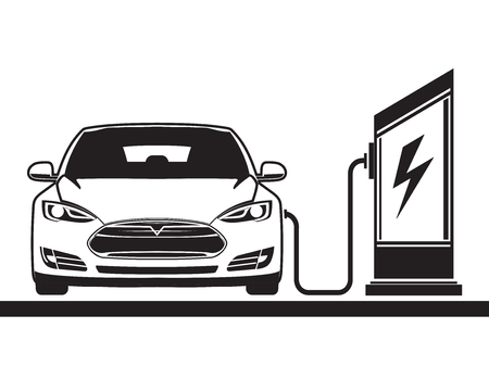 Electric vehicle and electric filling station.  graphics. Sign, symbol Vectores