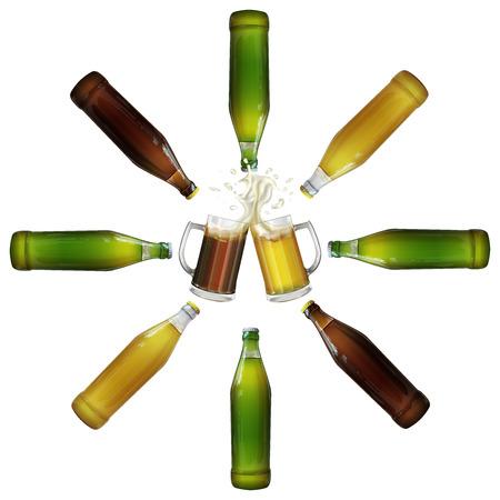 Tazas, botellas de cerveza clara y oscura. Imagen realista. Foto de archivo - 66538452