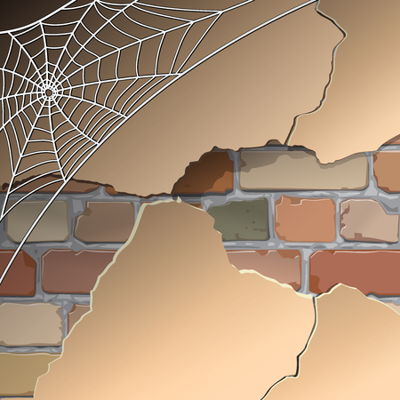 peeling paint: Old brick wall in the web. Vector