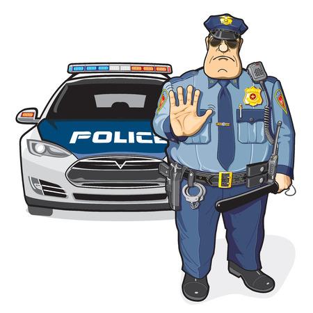 Ein Polizist und ein Polizeiauto Vektorgrafik