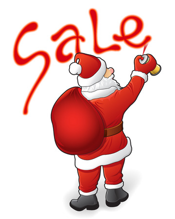 Christmas sale, discounts and Santa Claus. Vector illustration