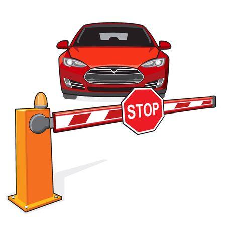 Barrière fermée et une voiture rouge. Panneau stop