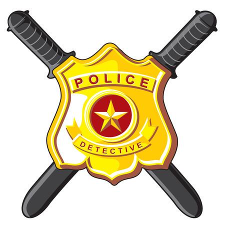 Police Symbols - metal badge and crossbones batons.