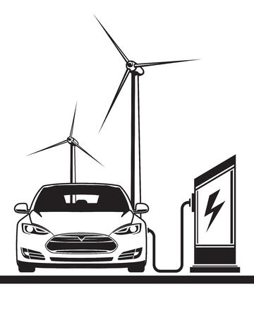 Elektroauto. Aufladen an einer Tankstelle. Windkraft