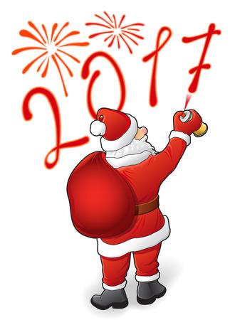 Papá Noel dibuja fuegos artificiales de 2017 y vacaciones Foto de archivo - 66083183