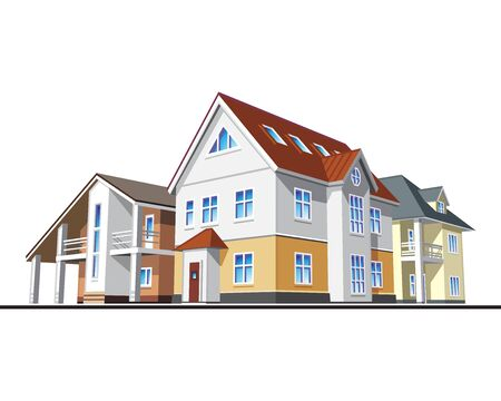 homes: Individual residential houses. Suburban homes or cottages. Vector illustration