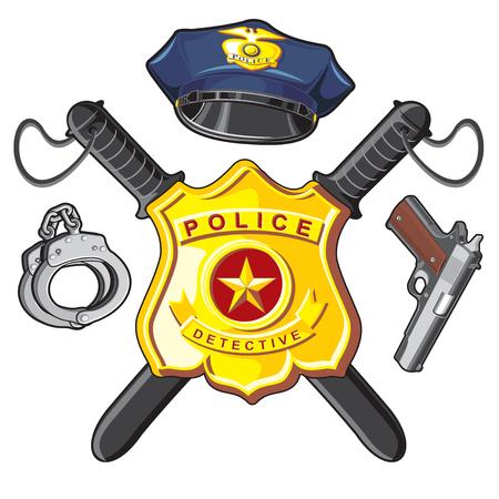 Police Symbols- metal badge, crossbones batons, firearm and handcuffs Illustration
