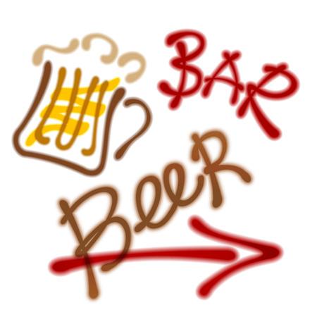 Mug with beer, arrow. labels - beer bar