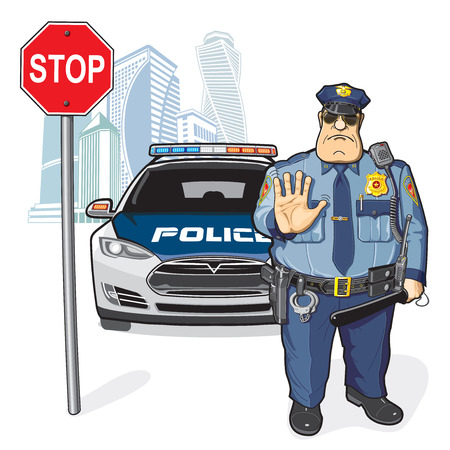 Police officer and a police car, stop sign