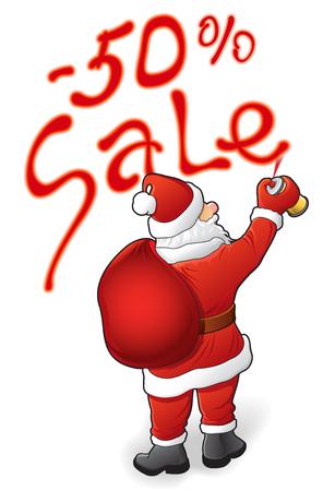 Christmas sale, discounts - 50 Santa Claus. Vector illustration Vectores