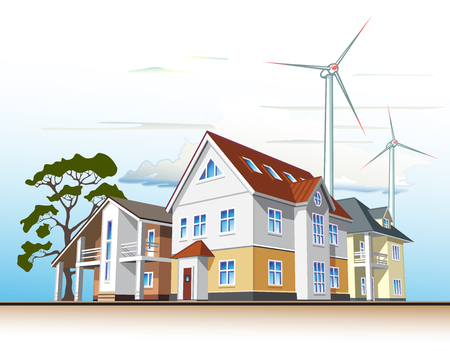 Individual residential houses. Suburban homes or cottages. Wind power plant Ilustração