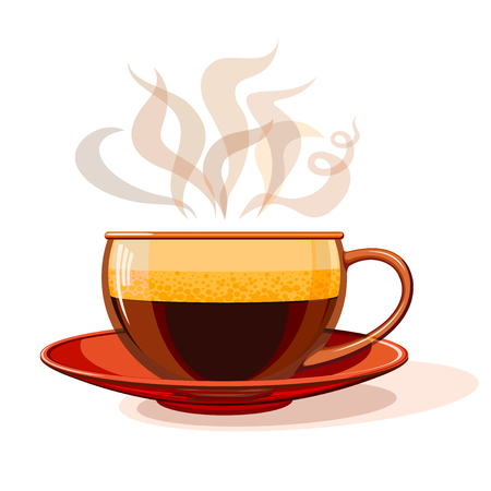 Hot coffee in a glass cup, of pairs of - Coffee inscription. Vectores