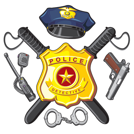 Policía símbolos- placa de metal, bastones de piratas, arma de fuego y esposas Foto de archivo - 69508468