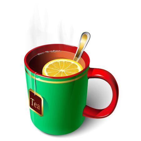 Mug with tea and lemon. A spoon. Tea bag. Vectores