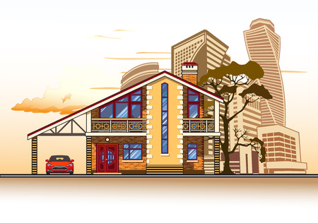 Casa o casa de campo, árbol, una cochera y un coche. vector de gráficos en color Foto de archivo - 69054621