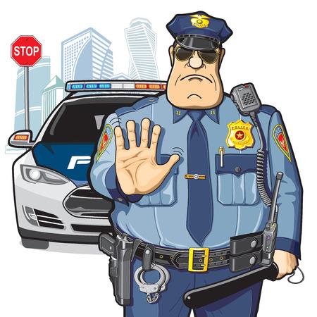 forbidden city: Police patrol, stop sign Illustration