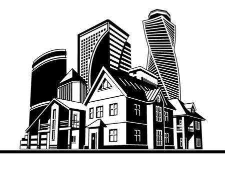 Cabañas y rascacielos Foto de archivo - 69361738