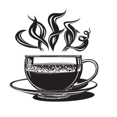 Hot coffee in a glass cup, of pairs. vector clip art