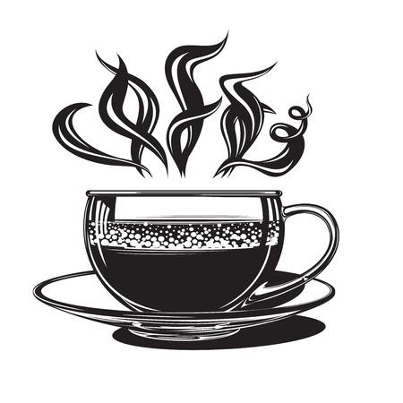 Café caliente en una taza de vidrio, de pares. vector de imágenes prediseñadas Foto de archivo - 87696146