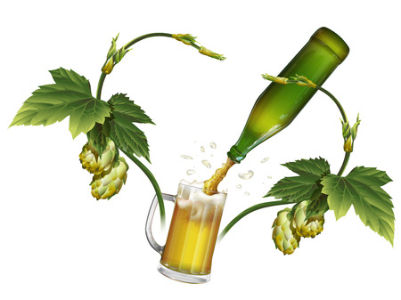 Beer is poured from the bottle into the mug. Hops in the form of heart