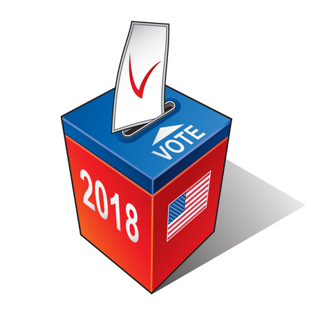 Ballot box with the flag of the USA. United States election 2018 Vector illustration.