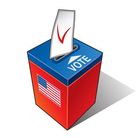 Ballot box with the flag of the USA.