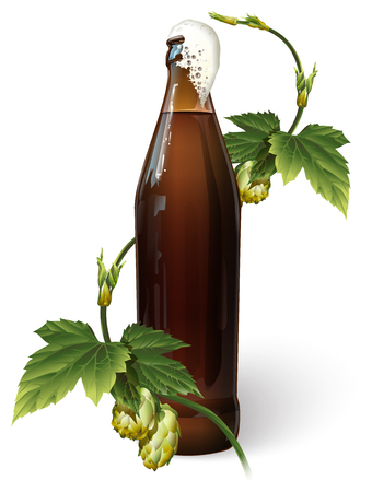 A bottle of beer and hops