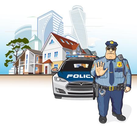 Patrulla policial, sheriff Ilustración vectorial. Foto de archivo - 97929410